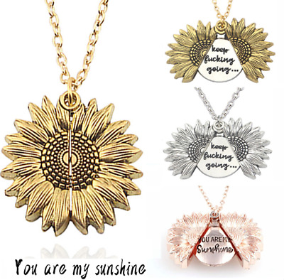 £3.49 • Buy Rose Gold You Are My Sunshine Open Locket Sunflower Pendant Necklace+Gift Bag