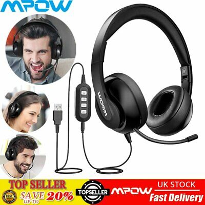 Mpow 224 3.5mm/USB Stereo Headset Headphones For Skype PC Laptop Noise Canceling • 25.84£
