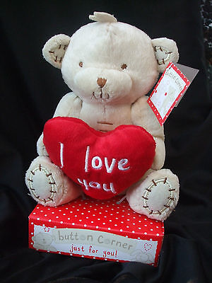 Button Corner I Love You Teddy Bear  Valentines Day Gift  • 8.99£