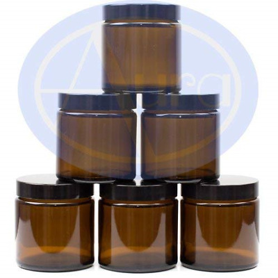 Aura 120ml AMBER GLASS Jars With BLACK Lids - PACK Of 6 • 17.51£