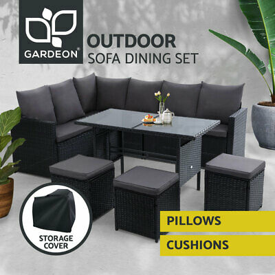 AU779.95 • Buy Gardeon Outdoor Dining Set Sofa Lounge Setting Chairs Table W/ Cover Lawn Black