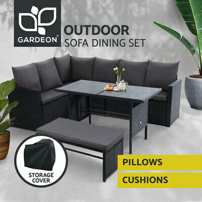 AU729.95 • Buy Gardeon Outdoor Dining Set Sofa Lounge Setting Chairs Table Bench W/ Cover Black