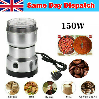 £8.98 • Buy Stainless Steel Electric Coffee Grinder 150W Bean, Spice And Nut Mill Blender UK