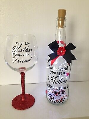 Handmade Light Up Bottle & Glitter Wine Glass For A Special Mother. • 12.99£