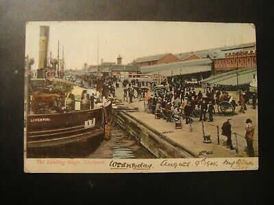 £9.99 • Buy  Landing Stage, Liverpool Docks.1905  Horse And Carts Passengers Shipping Ships