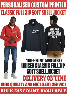 £22.99 • Buy Personalised Custom Printed Full Zip Soft Shell Jacket Your Text Logo Workwear