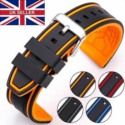 £5.99 • Buy 20mm 22mm Dual Colour Watch Strap Band Soft Silicone Rubber Sport Replacement UK