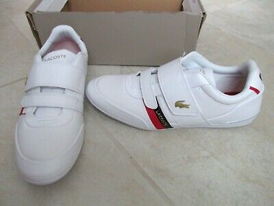 NEW Lacoste Misano Strap 0120 CMA Leather Fashion Sneakers MENS 11.5 White Red • 64.37£
