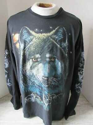 $ CDN10.07 • Buy Old Vintage Full Moon Wolf Black Long Sleeve T-Shirt Xtrnr 50/50 Size Large