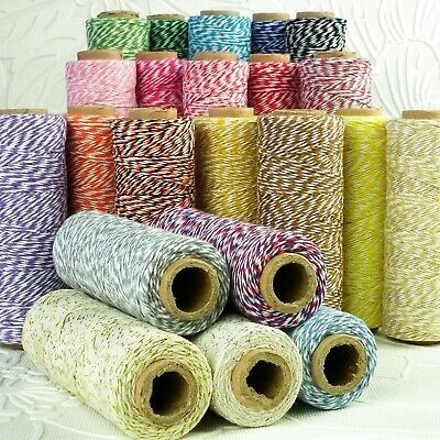 £5.99 • Buy CLEARANCE! 100 Yard Spool 4ply Cotton Bakers Twine Roll Of 1mm 38 Divine Colours
