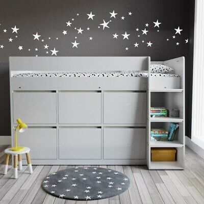 £469.99 • Buy Kids Grey Cabin Bunk Bed + Storage Drawers Solution Wooden