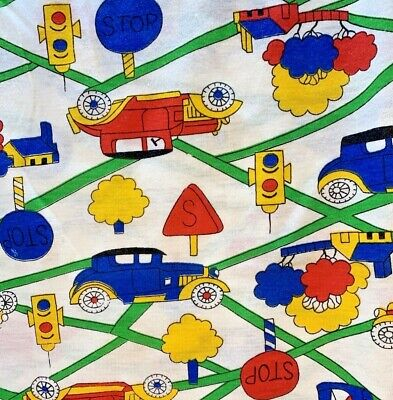 Car Automobile Kids Cotton Jersey Knit Fabric Remnant 34x56 Red Yellow Vintage • 6.43£