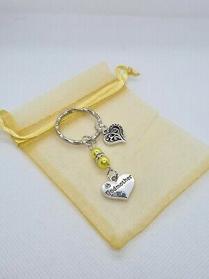 £3.39 • Buy Godmother Keyring With Heart Gift For Godmother, Christening Gift, Godparents