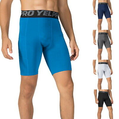 Mens Quick Dry Compression Base Layer Shorts Bottoms With Pocket Briefs Sport/ • 7.89£