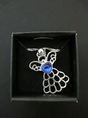 Avon Angel Necklace With Blue Heart, Birthstone, Silver Chain • 7.15£