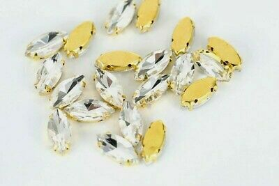 £3.71 • Buy 10pcs (5 X 7mm) Crystal Navette Strass Gold Plated Sew On Gems Jewels