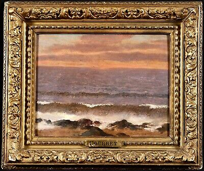 ENTOURAGE Of GUSTAVE COURBET (1819-1877) FRENCH OIL IN ORIGINAL FRAME SUNSET SEA • 103£
