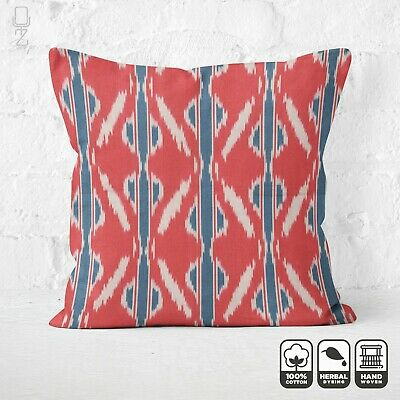 Cotton Handwoven Ikat Cushion Cover 100% Cotton | Red & Blue Throw Pillow • 24.60£