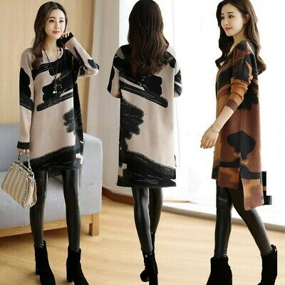 AU19.52 • Buy Women Autumn Winter Printed Loose O-Neck Long Sleeve Casual Straight Dress AN8