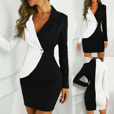 AU25.94 • Buy Women Long Sleeve Buttons Striped Patchwork Bodycon Blazer Office Dresses