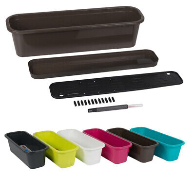 £9.29 • Buy  2 Plastic 50cm Trough Sets With Irrigation And Drip Tray Window Box Plant Pot