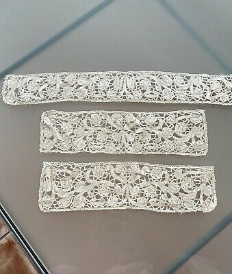 ANTIQUE 18thc MILANESE HAND LACE COLLAR AND CUFFS SET IN WHITE FINE LINEN • 89.41£