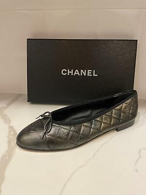£495.59 • Buy CHANEL 19A Quilted Leather Cap Toe Bow Ballerina Ballet Flat Shoes $795