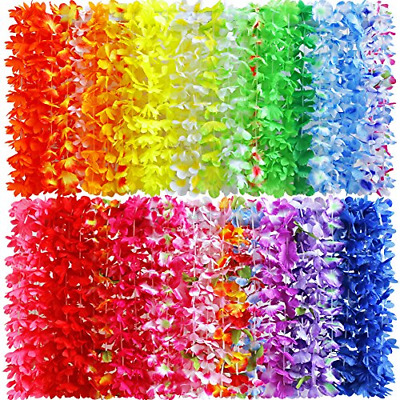 Myamy 50 Counts Tropical Luau Flower Lei Theme Party Favors Hawaiian Leis Hawaii • 14.34£