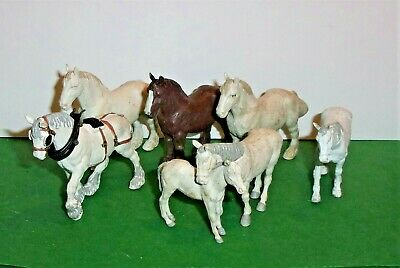 VINTAGE 1970's BRITAINS FARM HORSES SHIRE HORSES CART HORSE MARE AND FOAL • 7.50£