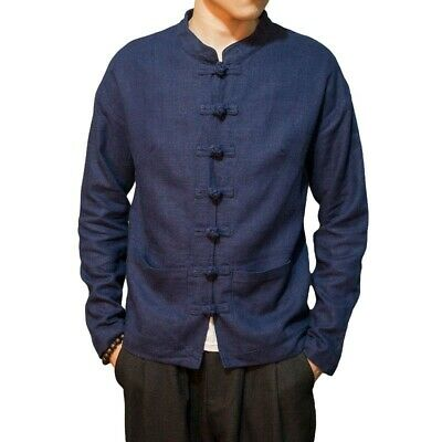 $71.22 • Buy Spring Fall Mens Tang Suit Chinese Style Jacket Cotton Linen Long Sleeve Shirt L