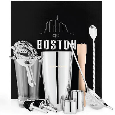 Boston Cocktail Shaker Gift Set 10pcs Stainless Steel With Pourers Andrew James • 19.99£