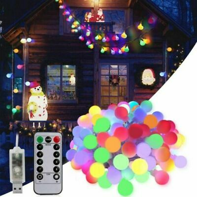 LED Globe Bulb Ball Fairy String Lights Mains Plug In Garden Outdoor Indoor Xmas • 9.99£