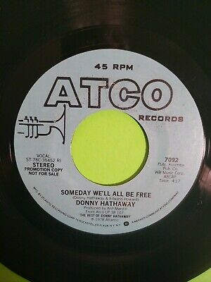 Donny Hathaway Someday We'll All Be Free 7  45 RPM Vinyl Record 1978 Promo • 5.31£