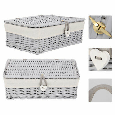 Grey Painted Wicker Trunk Baby Nursery Toys Blanket Storage Chest Basket Box • 25.99£