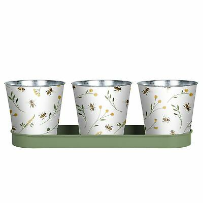 Bee Print Herb Pots Flower Planter For Balcony Or Windowsill In White • 19.99£