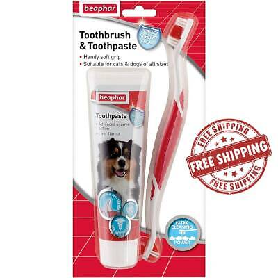 Dog Toothbrush Toothpaste Fresh Removes Breath Kit Plaque All Sizes Dog • 6.75£