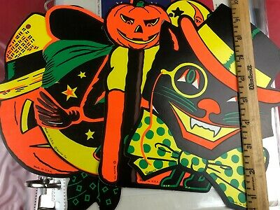 $ CDN19.02 • Buy Beistle Halloween Decorations Cut-Outs Vintage Holiday Witch Cat Jack-O-Lantern