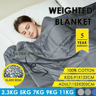 AU49.99 • Buy Cotton Weighted Blanket Anxiety 9KG 7KG 5KG 2.3KG 11KG Gravity Relax Kids Adults