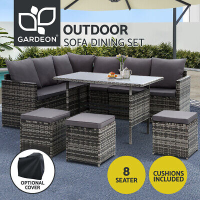 AU775.95 • Buy Gardeon Outdoor Dining Set Sofa Lounge Setting Chairs Table W/ Cover Lawn Grey