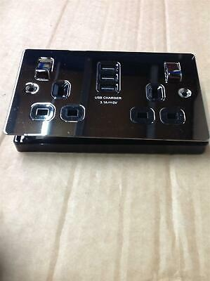 LAP 13A 2- Gang SP Switched Socket & 3.1A 3- Gang USB Charger Black Nickel • 15£