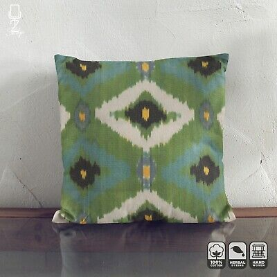 Ikat Throw Pillow From Handwoven 100% Cotton | Bohemian Green Cushion Cover • 24.60£
