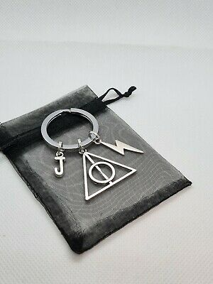£3.75 • Buy Large Personalised Harry Potter Style Keyring, Wizard Gifts, Deathly Hallows