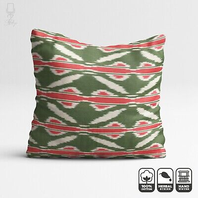 Ikat Cushion Cover From Traditional Uzbekistan Handwoven Cotton Fabric | 20 X20  • 22.60£