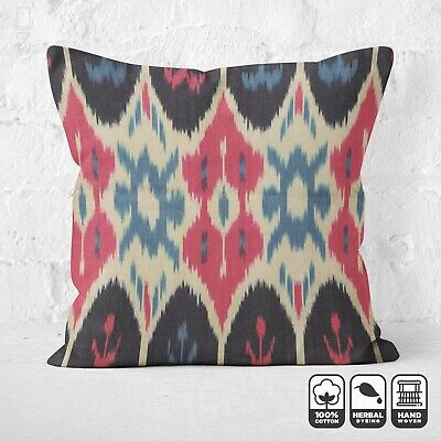 Ikat 100% Cotton Handwoven Pillow Cover With Red, Black And Blue Colours 20 X20  • 24.60£