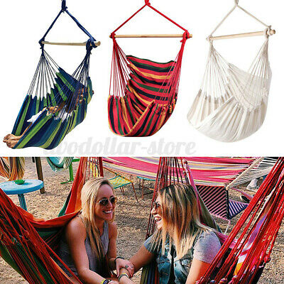 Hanging Hammock Chair Portable Garden Tree Swing Seat Travel Camping Poly Cotton • 11.95£