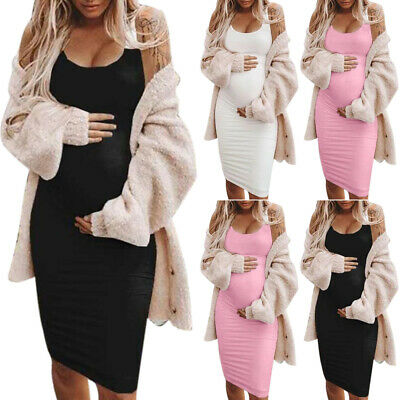 AU24.39 • Buy Maternity Women's Casual Bodycon Tank Dress Ladies Sleeveless Pregnant Sundress