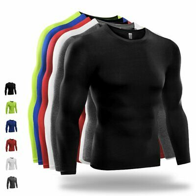 Men Compression Long Sleeve Quick Dry Under Base Layer T-shirt Sports Gym Tops • 10.79£