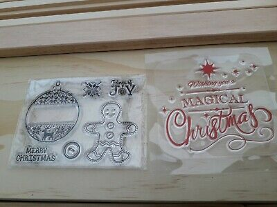 New Acrylic Clear Stamps Christmas Star Bauble Gingerbread Man Craft Cards Xmas • 1.50£