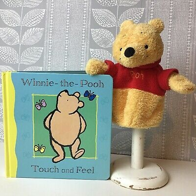 Winnie The Pooh Hand Puppet & Touch And Feel Book, Baby Toddler Sensory Play • 6.99£