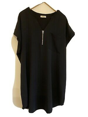 Ladies Papaya Long Black Tunic Top, Size 20 • 12.50£
